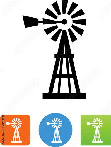 Obraz Windpump Icon - Illustration - fototapety do salonu
