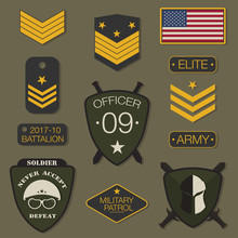 Military Army Badge Set Typography. T Shirt Graphics. Army Patch, Chevron, Pin