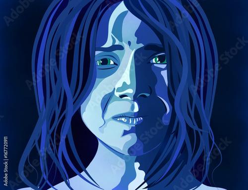 Obraz na plátně  Donna depressione, abuso, maltrattamento, picchiare, ragazza, bambina, violenza