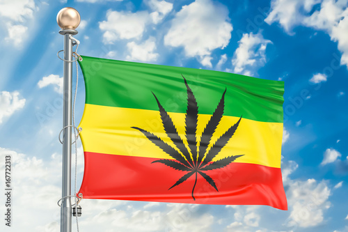 Fotografie, Obraz  Rasta Flag, Cannabis leaf on Rastafarian flag. 3D rendering