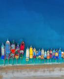 Łodzie Widok z lotu ptaka kolorowe łodzie w morzu śródziemnomorskim w Oludeniz, Turcja. Piękny letni pejzaż morski ze statkami, czystą lazurową wodą i piaszczystą plażą w słoneczny dzień. Widok z góry jachtów z latającego drona - 167725541