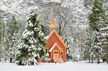 Yosemite Chapel During Winter In Yosemite National Park, California, U.S.A.
