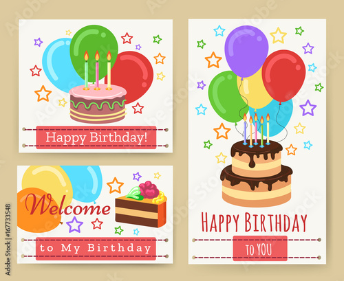 Birthday Greeting Card Templates With Cake And Candles