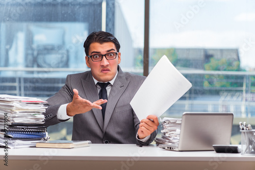 Garden Poster Angry businessman with too much work in office