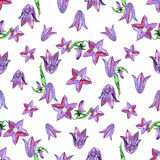 Watercolor seamless pattern with blue bluebells flowers. Rustic floral design for wedding invitations and birthday cards.