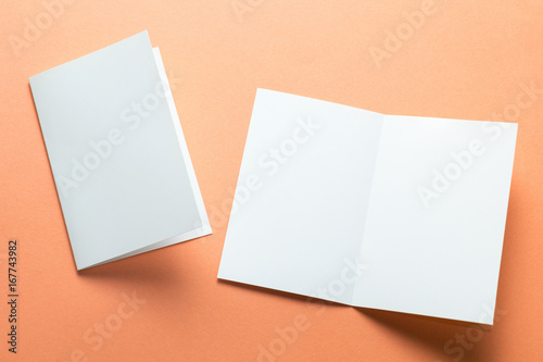 Fotografie, Obraz  Blank square two-leaf brochures isolated on orange background