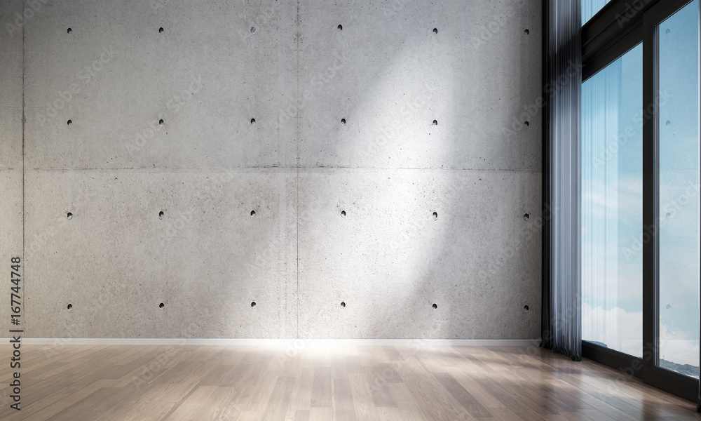 Fototapeta 3D rendering interior design scene of modern empty lounge and living room and concrete wall and wood floor