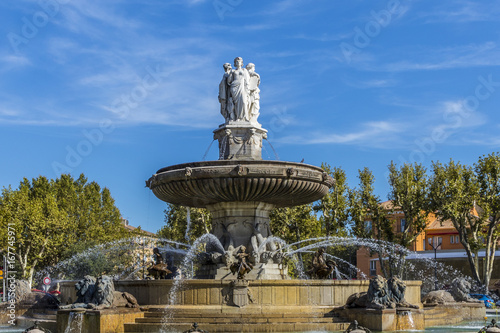 Fountain of de La Rotonde Aix en Provence Wallpaper Mural