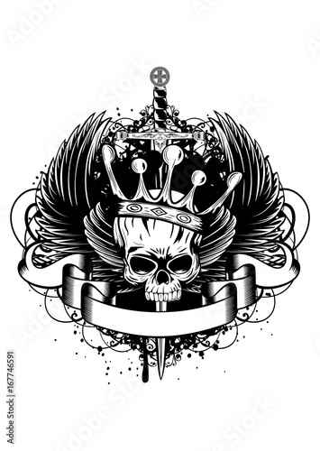 Photo  Skull with crown, wings and sword
