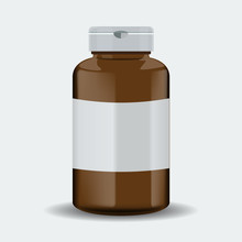 Pills Box. Brown Medical Container. Vector Illustration Isolated On White Background