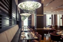 Interior Of Restaurant. Wooden Design.