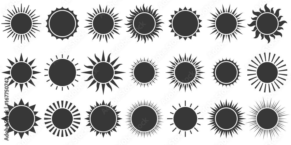 Fototapety, obrazy: Set of sun icon in silhouette design