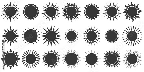Fotografía  Set of sun icon in silhouette design