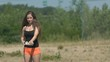 Pretty Girl Playing Badminton In Nature Slow Motion