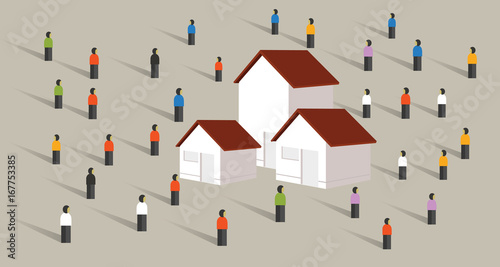 buy home housing affordable mortgage people crowd standing around property marke Wallpaper Mural