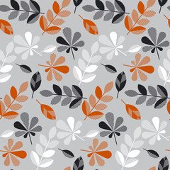 Fototapetadecorative fall leaves seamless pattern for surface design, fabric, wrapping paper, background. abstract geometry style vector autumn illustration. natural leaf simple repeatable motif