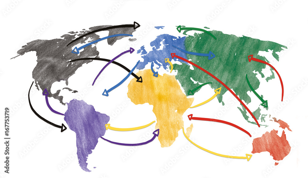 Fototapeta Sketch or handdrawn concept for globalization, global networking, travel or global connection or transportation with connecting arrows.