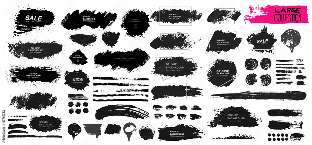 Fototapeta Large set of black paint, ink brush, brush. Dirty element design, box, frame or background for text. Line or texture. Vector illustration. Isolated on white background. Blank shapes for your design
