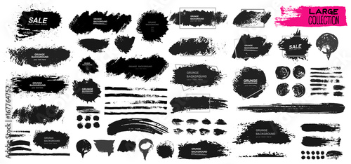 Large set of black paint, ink brush, brush. Dirty element design, box, frame or background for text. Line or texture. Vector illustration. Isolated on white background. Blank shapes for your design
