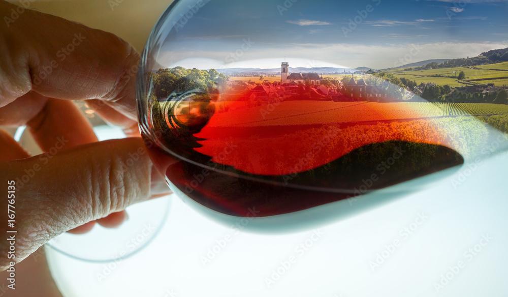 Fototapeta composition vignes dans verre de vin