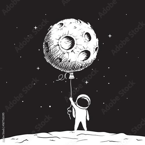 Fotografía  Cute astronaut keeps a moon