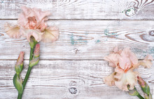 Pink Iris Flowers On Wooden Table. Top View, Copy Space.
