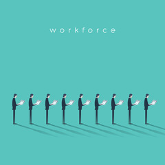 Business workforce vector illustration concept with businessmen doing menial repetitive job. Business outsourcing concept.