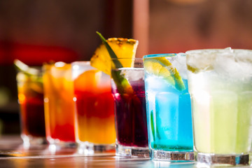 Fototapeta Set of different alcoholic drinks and cocktails