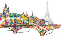 Paris Urban City Bridge And Ei...
