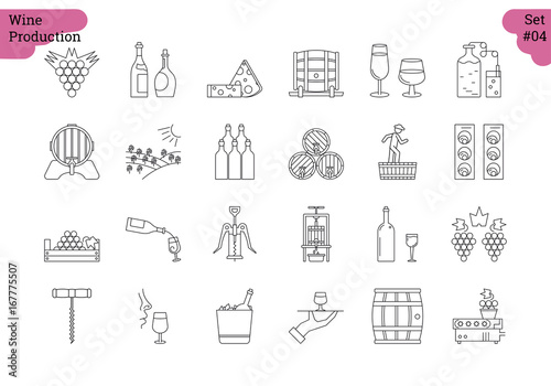 Fotografia  Linear icon set 4 - WINE PRODUCTION