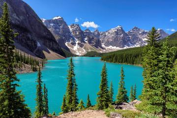 Beautiful turquoise lake of the Rocky mountains, Moraine lake, Banff National Park, Canada.