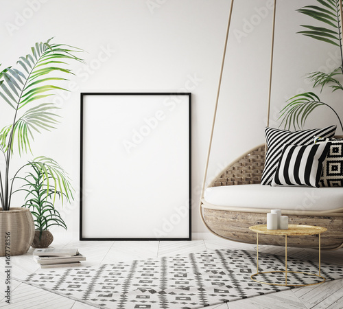 Photo  mock up poster frame in tropical interior background, modern Caribbean style, 3D