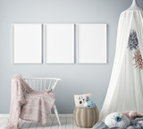 mock up poster frames in children bedroom, Scandinavian style interior background, 3D render, 3D illustration