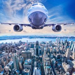 Fototapeta Nowy York airplane above new york city