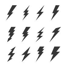Thunder And Bolt Lighting Flash Icons Set. Vector