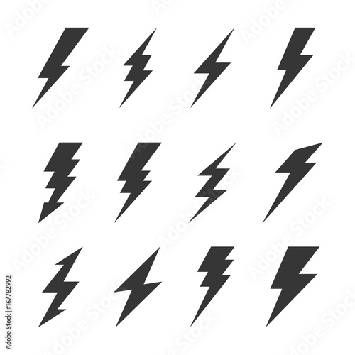 Valokuvatapetti Thunder and Bolt Lighting Flash Icons Set. Vector