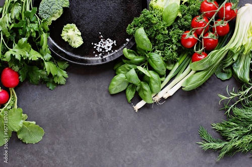Seasonal green vegetables and herbs Canvas Print