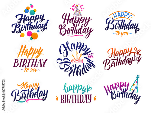 Photo  Happy birthday elegant brush script text