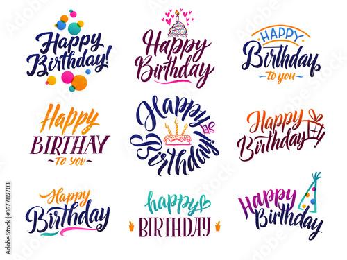 Happy birthday elegant brush script text Wallpaper Mural