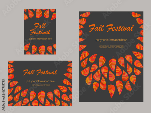 set of advertising flyers templates for presentation leaflet cover page design autumn fall