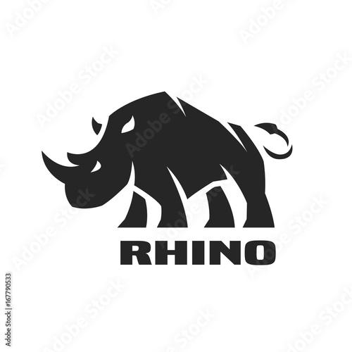 Canvas Print Angry rhino. Monochrome logo.