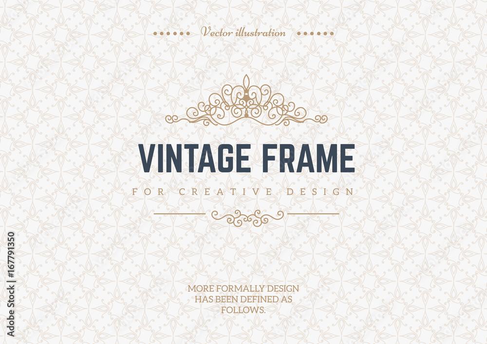 Fototapeta Monogram creative cards template with flourishes ornament elements. Elegant design for cafe, restaurant, heraldic, jewelry, fashion