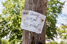 French Garage Sale Sign On Woo...