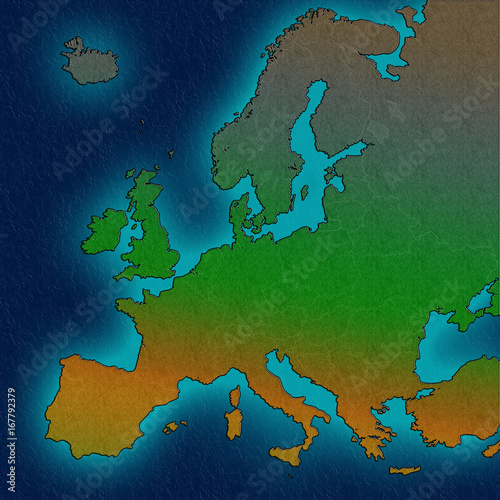 Europe continent outline european borders silhouette ocean map ...