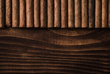 Cuban Cigars Close Up On Woode...