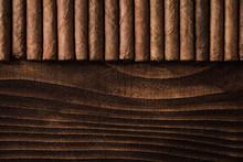 Cuban Cigars Close Up On Woode...