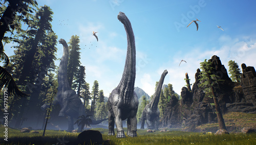 3D rendering of an Alamosaurus pack moving through a valley. Canvas Print