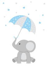 Baby Elephant - Blue Baby Shower