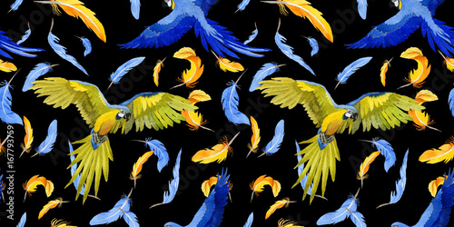 La pose en embrasure Fées, elfes Sky bird parrot pattern in a wildlife by watercolor style. Wild freedom, bird with a flying wings. Aquarelle bird for background, texture, pattern, frame, border or tattoo.