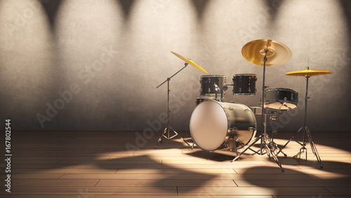 Photo Drum set at the concert light and modern loft wall style background